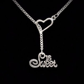Heart Sweet 16 Sixteen Daughter Birthday Gift Lariat Style Necklace