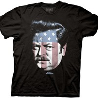 Parks and Rec Ron Swanson Stars & Stripes Mens Black T-Shirt M