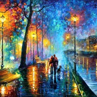 "MELODY OF THE NIGHT — PALETTE KNIFE Oil Painting On Canvas By Leonid Afremov - Size 30""x40"""