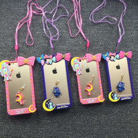 Silicone Phone case Sailor  Moon Apple Mobile Phone case With Rope And Dust Plug  Iphone5 5S Iphone6 6S Iphone6 Plus Case
