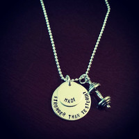Stronger Than Yesterday - Personalized Sterling Silver Crossfit Barbell Necklace