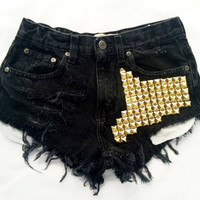 Boson short studded black cutoff shorts