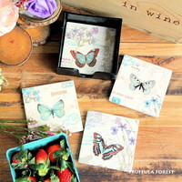 Ceramic Butterfly Coasters Set