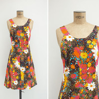1970s Dress - Vintage 70s Black Floral Dress - Ce Matin Là Dress