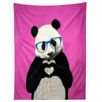 Coco de Paris Panda with finger heart PINK Tapestry