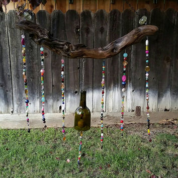 Whimsical Upcycled Wine Bottle Driftwood Wind Chime/Repurposed Bottle Garden Art/Recycled Winery Beaded Wine Bottle/Sun Catcher Wine Art