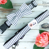 Black and White Seersucker Dog Collar with Removable Bow Tie