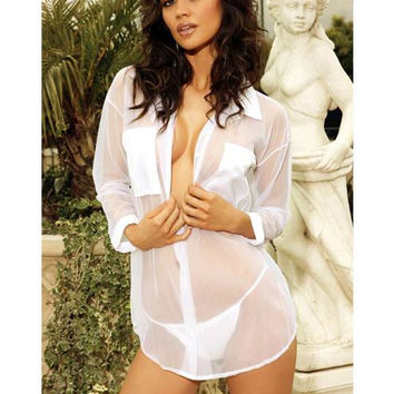 White V-neck Long Sleeve Mesh Sleepwear