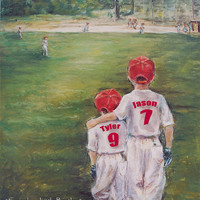 Baseball Art Brother sports boys Personalized  Red Names, Numbers, art print Colors  children 8x10