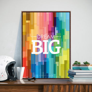 Colorful Rainbow Motivational Typography Dream Quotes Art Print Poster Abstract Wall Picture Canvas Painting No Frame Home Decor