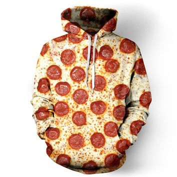 XMiniLife New Digital Print Space Hoodie Sweatshirt,Pizza S/M