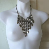 Art Deco Style Vintage Bib Necklace; Drippy Goldtone & Rhinestone Strands; Short Spray Necklace; U.S. Shipping Included