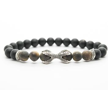 Onyx and Mate Tigers Eye Gemstones Beaded Bracelet for Men and Women