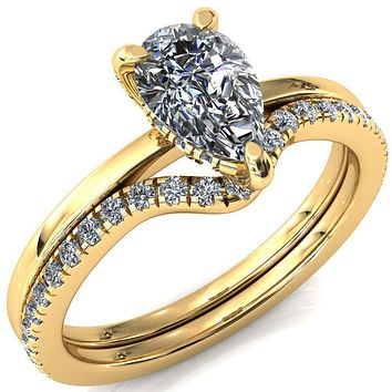Rosy Pear Moissanite 3 Claw Prong Single Rail 3/4 Micropave Engagement Ring
