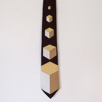 Men's Vintage Oleg Cassini by Burma Necktie / Brown, Tan and White Cubes / Op Art Design / 70s Geometric Tie