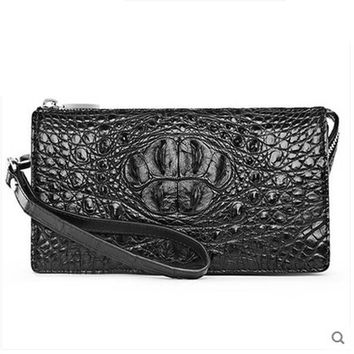 hlt Authentic Thai crocodile wallet men's leather long leather zipper with bags and bags of men's clutch bags