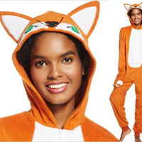 Adult One Piece Hooded FOX Fleece Pajamas Woman S-XXL Union Suit Costume