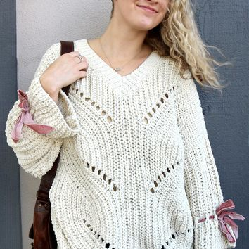 Eyelet Design Sweater - Beige by POL Clothing