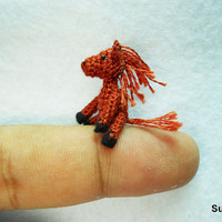 Miniature Chestnut Horse - Micro Dollhouse Miniature Crochet Animal - 1 inch Scale - Made To Order