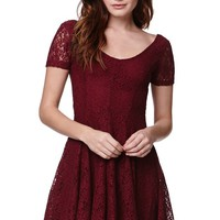 LA Hearts Cap Sleeve Lace Dress - Womens Dress - Red