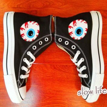 Harajuku eyes-painted shoes/Converse canvas shoes/Custom canvas shoes/Sneakers/graffit