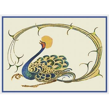 Art Nouveau Peacock By Talwin Morris  Arts and Crafts Style Counted Cross Stitch Pattern
