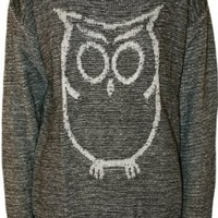 WearAll Women's Owl Long Sleeve Knitted Jumper