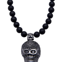 Necklace With Black CZ Skull