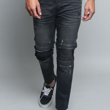 Distressed Scrunched Knee Biker Jeans DL1179 - II7D