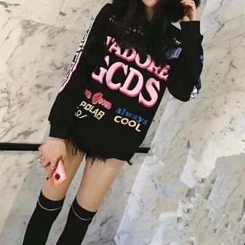 GCDS Women Casual Fashion Letter Cartoon Hello Kitty Pattern Print Long Sleeve Thickened Sweater Tops