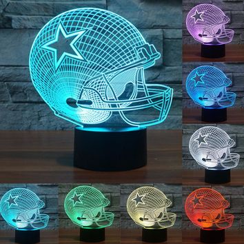 Dallas Cowboys: Helmet 3D LED tabletop lamp; 7 Colors Change acrylic USB LED