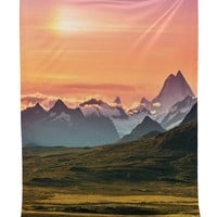 Sunset & Mountains Boho Bohemian Twin Bedspread Wall Tapestry
