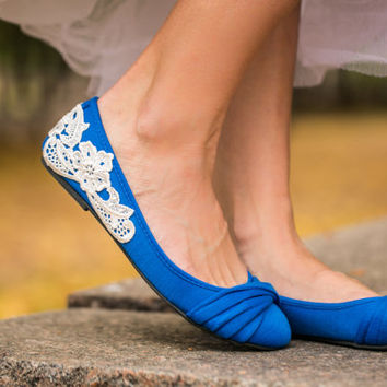 Wedding Flats - Blue Bridal Ballet Flats, Wedding Shoes, Ballet Flats, Blue Bridal Flats, Flat Wedding Shoes with Ivory Lace. US Size 8