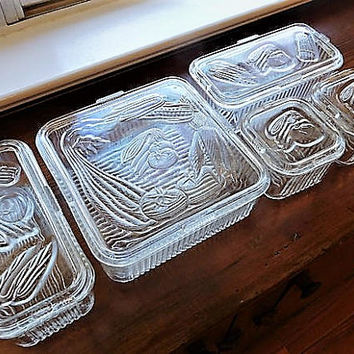 Depression Glass Refrigerator Dish Set 1930s 30s Veggie Vegetable Storage Containers with Lids Vintage Kitchen Art Deco Country Farm Fridge
