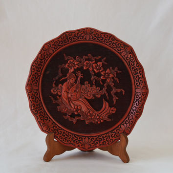 Vintage Carved Cinnabar Plate Five Perceptions of Weo Cho Hearing Numbered 5954