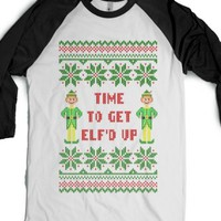 Time to Get Elfd Up Funny Ugly Christmas Sweater T Shirt-T-Shirt