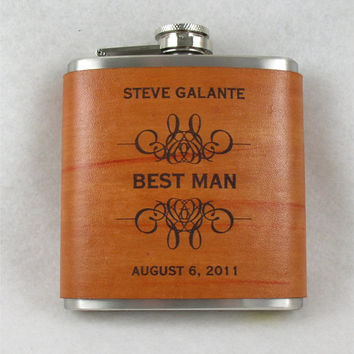 Groomsmen Flasks with Hand Dyed Engraved Leather Wrap - set of 6