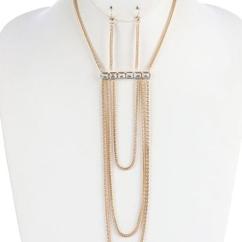 Kerrie (Gold) Bar Multi-Layer Chain Necklace and Earring Set