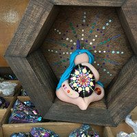 Mandala Unicorn goddess with hexagon box, altar shelf, scenic box, colorful goddess, painted box, OOAK, painted shelf