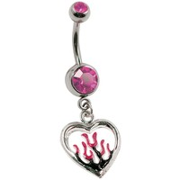 "14G 3/8"" Pink Flaming Heart Charm Curved Barbell"