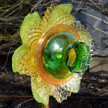 Glass Plate Flower - Amelia Blossom upcycled recycled repurposed vintage glass flower for Garden or yard decor