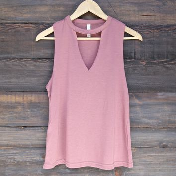 women's flowy cut-neck sleeveless tank - mauve