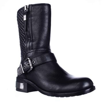 Vince Camuto Whynn Mid-Calf Motorcycle Boots, Black, 5 US / 35 EU