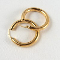 Large 18K solid gold hoops Fine Stamped French solid gold creoles Perfect condition Easy to wear