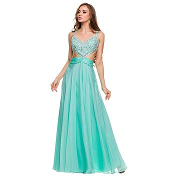 Sexy Formal Prom Gown Mint Green A Line Chiffon Side Cut Outs