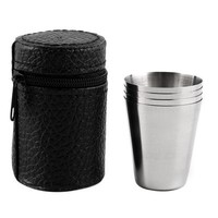1 Set of 4 Stainless Steel 30ML, 70ML, 180ML Camping Coffee Mug