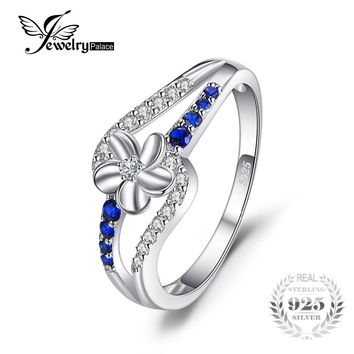 JewelryPalace Simple 0.3ct Created Blue Sapphire Flower Ring Genuine 925 Sterling Silver Charm Party Fashion Women Fine Jewelry