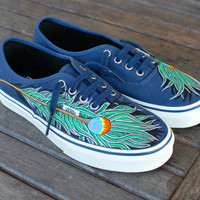 Peacock Feather Vans shoes, Blue/ Marshmallow Authentic