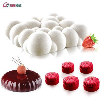 SHENHONG 3PCS/Set Art Cake Mould Pan 3D Clouds Pumpkin Round Mousse Silicone Mold Silikonowe Chocolate Moule Baking Tools