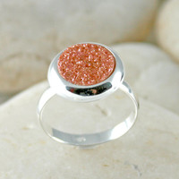 Druzy Ring,Drusy Ring,Drusy Quartz,Agate Ring,925 Sterling Silver
